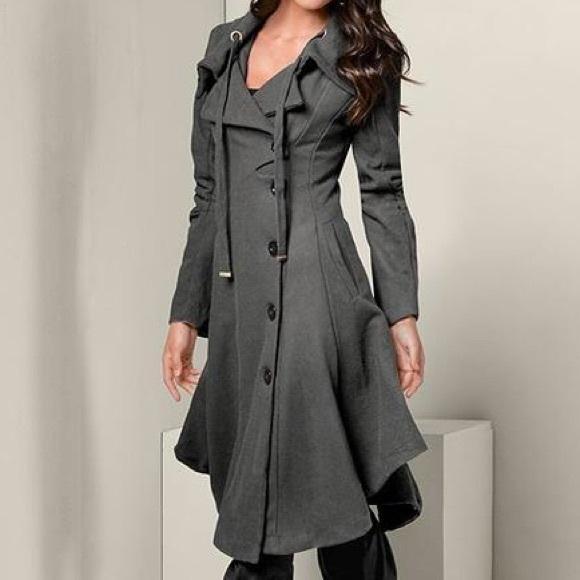 VENUS Handkerchief Hem Coat - Black